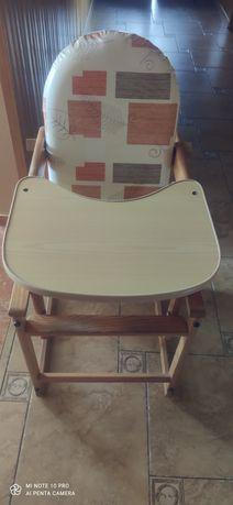 Krzesełko ze stoliczkiem do karmienia drewniane