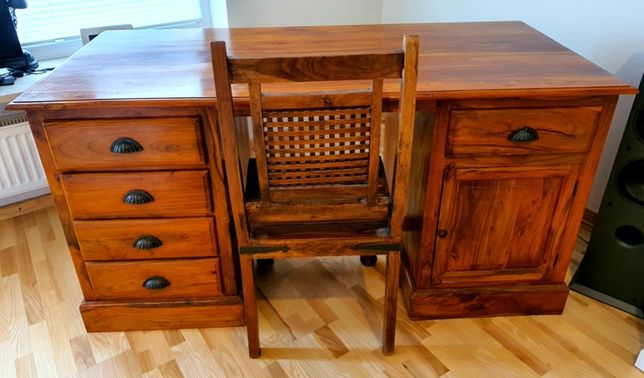 Biurko z Krzesłem Almi Decor kolonialne indyjskie palisander lite drew