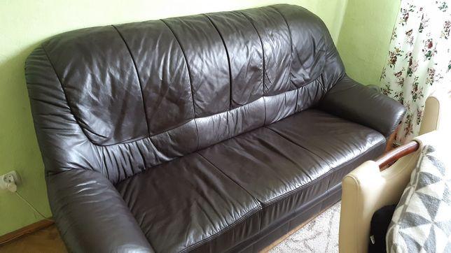 Skórzana sofa z funkcją spania bez pojemnika na pościel