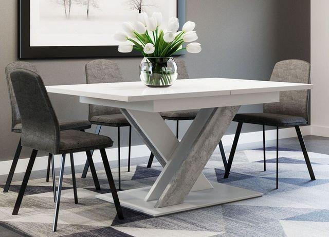 Stół duży rozkładany biały mat / beton 140 cm - 180 cm Dowóz Cały Kraj