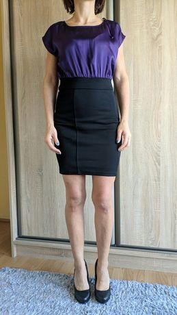 Sukienka, fiolet, czarna