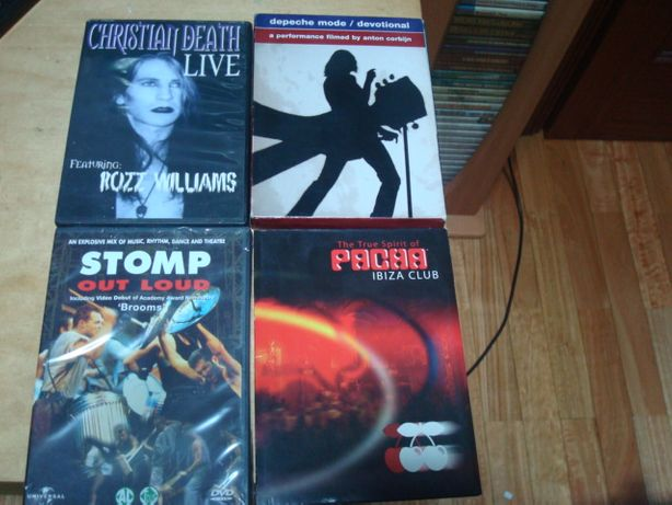 lote 7 dvds musicais ,,kanye west,christian death ,depeche mode etc