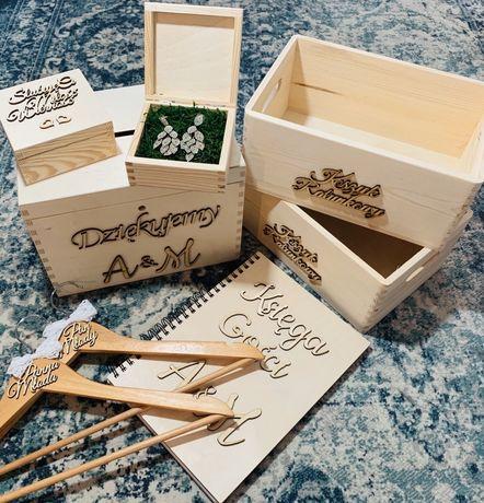 ZESTAW ślub pudełko na koperty obrączki księga gości wieszaki koszyki