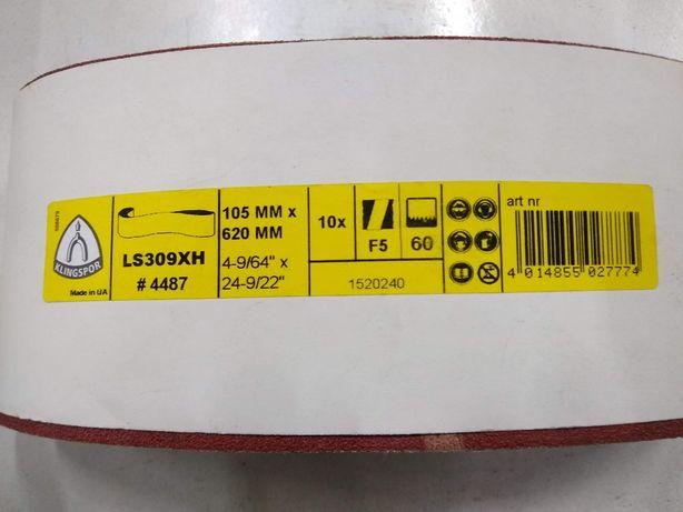Taśma ścierna Klingspor LS309XH, 105x620, gr.60,80,100, papier ścierny