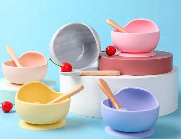 детская посуда силиконовая тарелка на присоске
