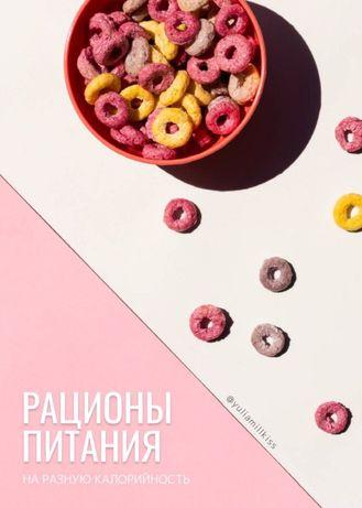 Чек-лист Рационы питания разной калорийности от блогера Yuliamillkiss