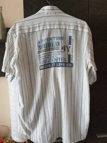 młodzieżowa koszula w pasy, napis na plecach