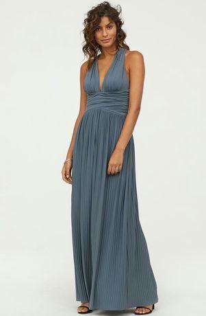 Платье с драпировкой плиссированое плиссе вечернее нарядное L-XL