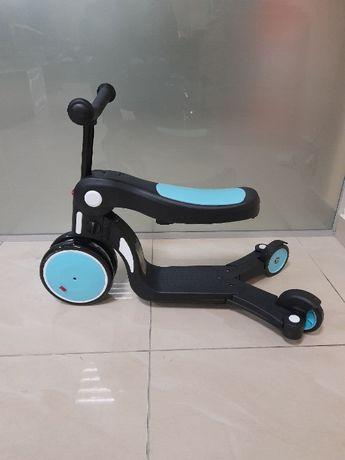 Трех-колесный самокат-беговел с сиденьем 5 в 1 и функцией-велосипед