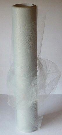Tiul wstążka tiulowa kokardy fibra 30cm 9m jasnoszary szary siwy ślub