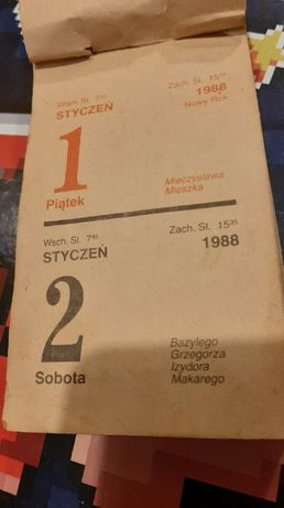 Kalendarz ździerak 1988
