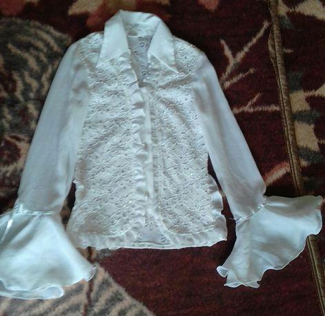 Блузка белая для девочки (рост 140)