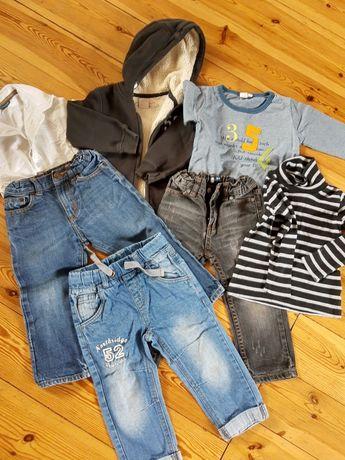 Ubrania zestaw dla chłopca 92 cm bluza ocieplana dżinsy