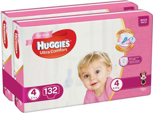 Подгузники Huggies Ultra Comfort 4 Mega для девочек 132 шт (66x2)
