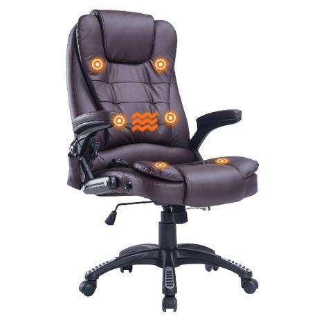 Fotel biurowy z funkcją masażu - brązowy