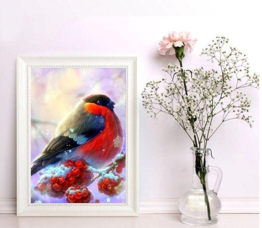 Diamond painting mozaika zestaw 30x25cm Ptak/ZIMA/ IDEALNY PREZENT