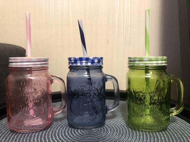 Кружка банка чашка с ручкой mason jar