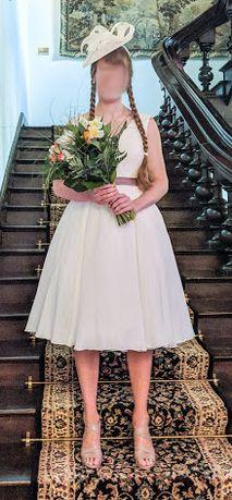 Suknia ślubna + kapelusz (ślub cywilny/kościelny)
