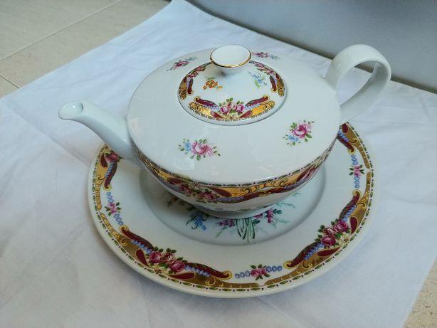Bule com prato porcelana Vizavi (tipo Limoges) novo