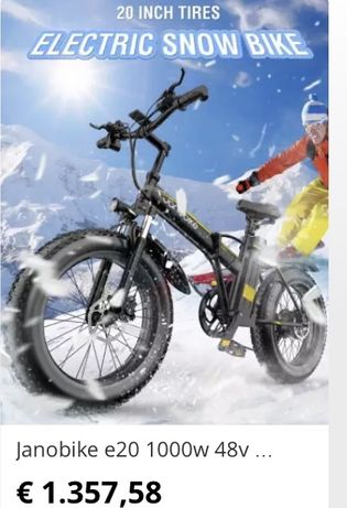 Bicicleta electrica janobike E 20 1000 w  50 kmh
