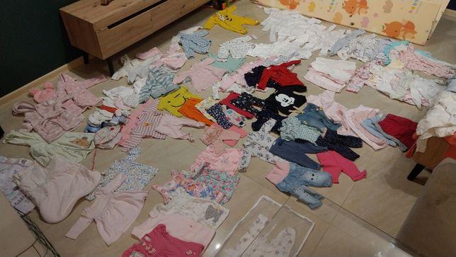 ciuszki dla dziewczynki 100+szt ubranka mega paka, pełna wyprawka 56-6