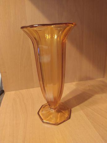 Wazon kielich bursztynowy szkło Walther Glass Trafelgar 1934