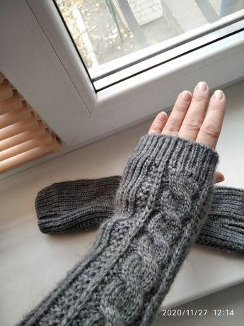 Перчатки митенки без пальцев Новые 100% шерсть
