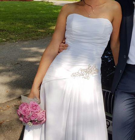 Suknia sukienka elegancka delikatna ślubna Biała 36