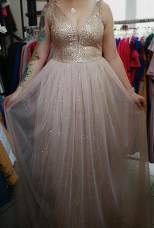 Sukienka złota cyrkonie brokatowa M