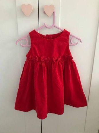 Sukienka sztruksowa świąteczna czerwona next 80