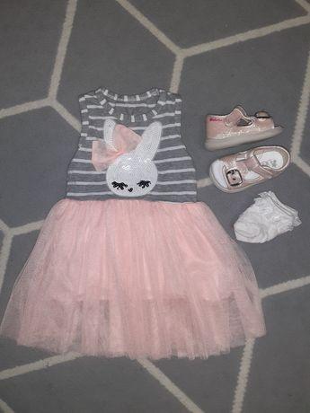 Zestaw dziewczynka 74 sukienka tiul + sandałki