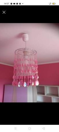 Lampa różowa z kryształkami