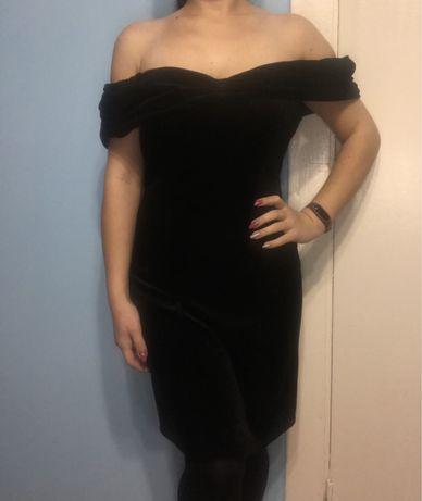 Велюрове бархатне платье, чорне плаття