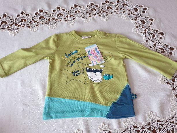 Bawełniana nowa koszulka longsleeve Coccodrillo w rozmiarze 80
