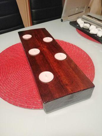 Świecznik drewniany Loft 50lat