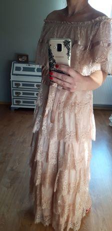 Sukienka koronkowa pudrowy róż r. 36
