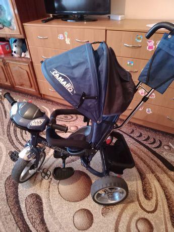 Дитячий трьохколісний велосипед з ручкою контролю для батьків