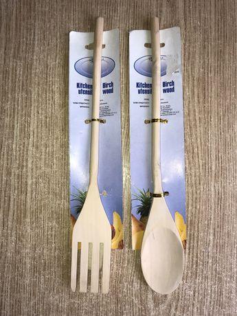 Новые: Ложка и вилка деревянные, набор 20 грн