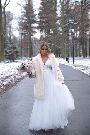 Suknia ślubna, ślub cywilny,kościelny,suknia ciążowa JAK NOWA 34/36