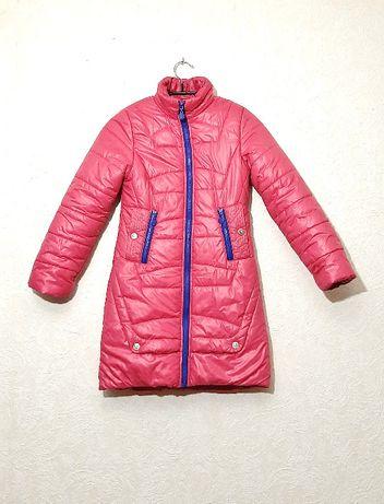 Дутик пальто на девочку малиновое тёплое синтепоне р34 подкладка флис