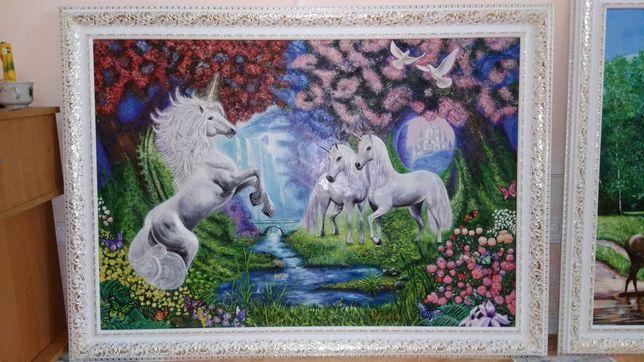 """Картина барельєф """"Зачарований ліс/Єдинороги"""""""