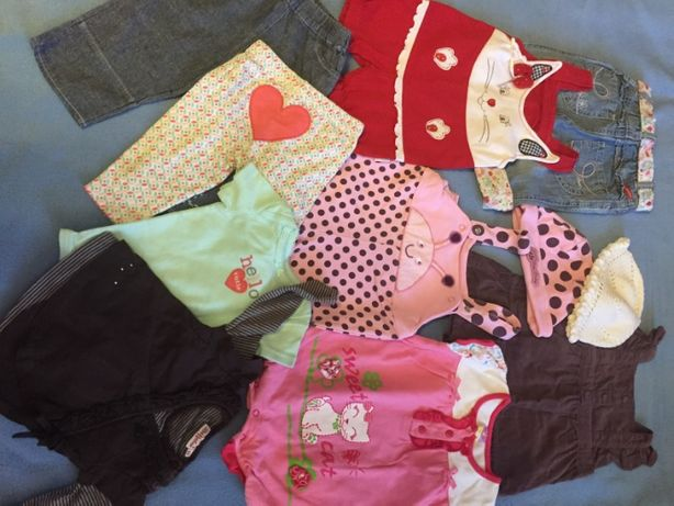Пакет летних вещей для девочки на возраст 4-7 мес.