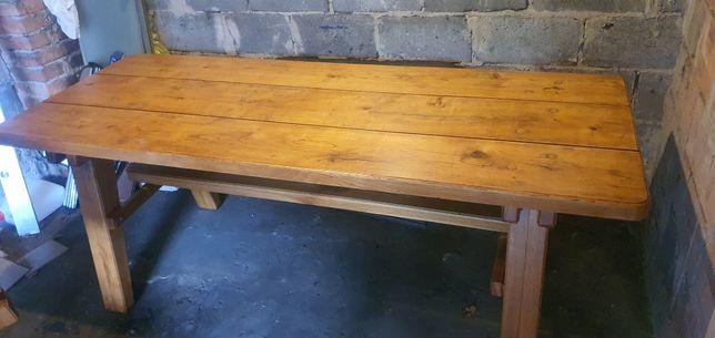 Solidny stół dębowy i 2 ławy
