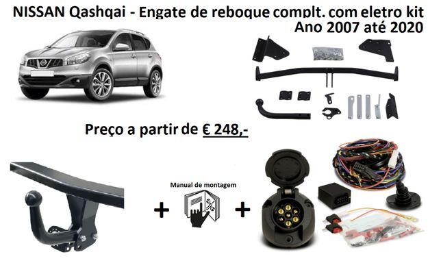 NISSAN Qashqai Gancho/Engate/ferro de Reboque + Kit elétrico de 7 pol