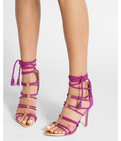 Purpurowe sandały chwosty frędzle nowe 39