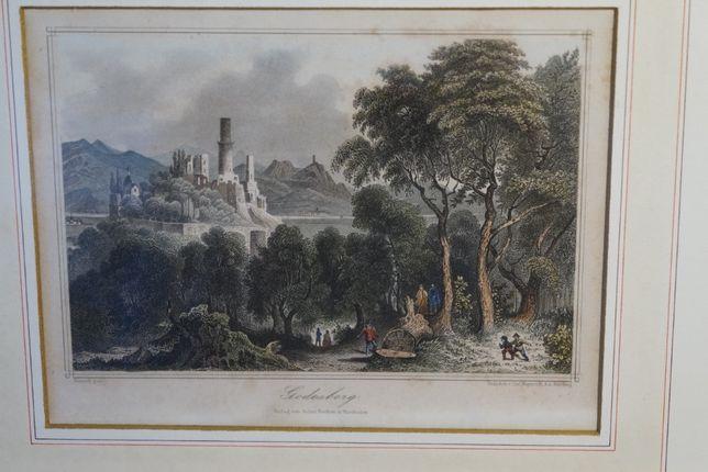 Obraz Godesberg Rycina Staloryt Carl Mayer 1867 r