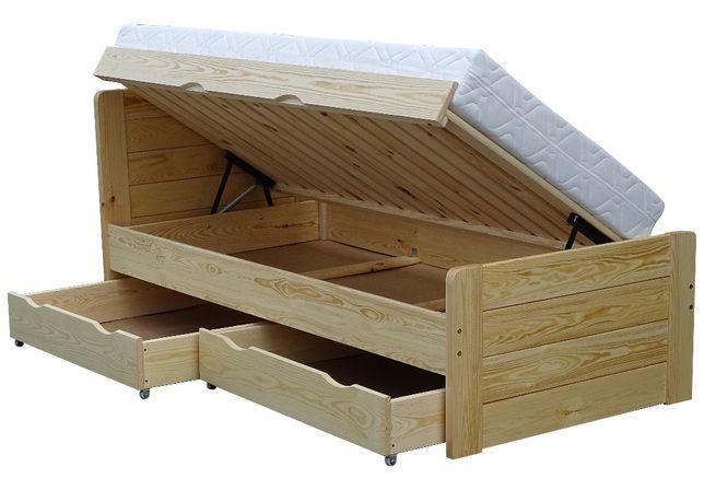 wysokie łóżko drewniane otwierane z boku z szufladami ARIA 120x220