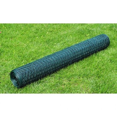 Ogrodzenie z siatki, galwanizowane, PVC, 25x0,5 m, zielone