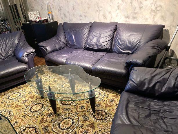 Диван и 2 кресла натуральная кожа, под реставрацию