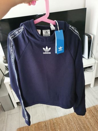 NOWA Bluza Adidas Orginals 164 granatowa z kapturem XS S szeroka